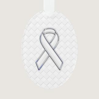 White Ribbon Awareness on Checkers Print Ornament