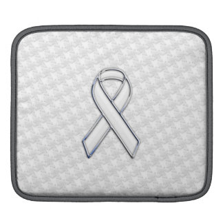 White Ribbon Awareness on Houndstooth Print iPad Sleeve