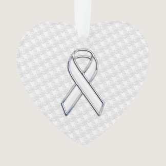 White Ribbon Awareness on Houndstooth Print Ornament