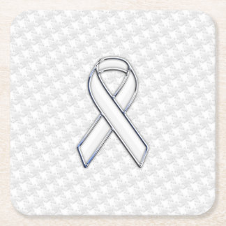 White Ribbon Awareness on Houndstooth Print Square Paper Coaster