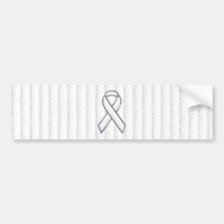 White Ribbon Awareness on Vertical Stripes Bumper Sticker