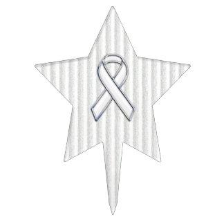 White Ribbon Awareness on Vertical Stripes Cake Picks