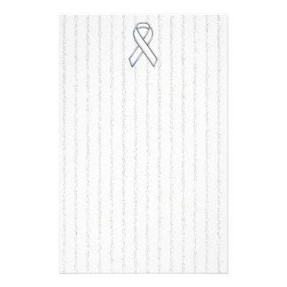 White Ribbon Awareness on Vertical Stripes Stationery