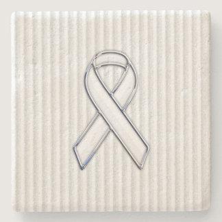 White Ribbon Awareness on Vertical Stripes Stone Coaster