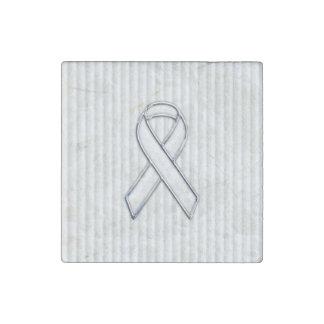 White Ribbon Awareness on Vertical Stripes Stone Magnet
