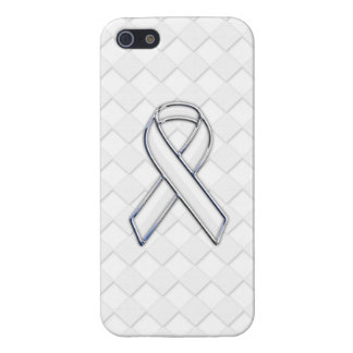 White Ribbon Awareness on White Checkers Case For iPhone SE/5/5s