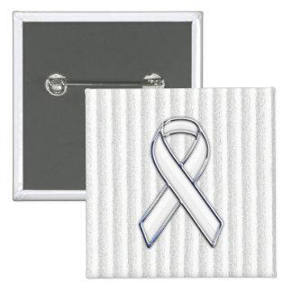 White Ribbon Awareness Stripes Button