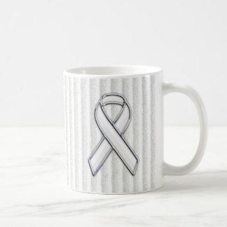 White Ribbon Awareness Stripes Coffee Mug