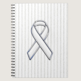 White Ribbon Awareness Stripes Spiral Notebook