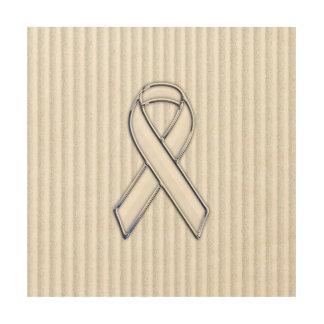 White Ribbon Awareness Stripes Wood Wall Decor