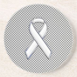 White Ribbon Awareness White Carbon Fiber Print Coaster