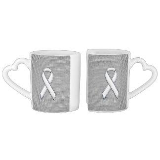 White Ribbon Awareness White Carbon Fiber Print Coffee Mug Set