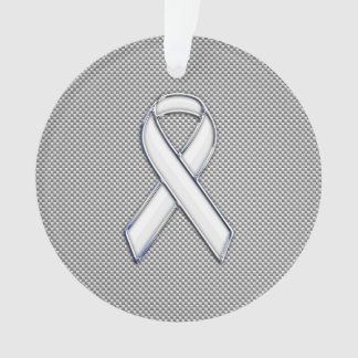 White Ribbon Awareness White Carbon Fiber Print Ornament