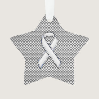 White Ribbon Awareness White Carbon Fiber Print Ornament