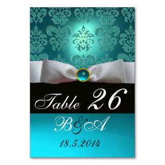 WHITE RIBBON BLUE TURQUASE BLACK  DAMASK MONOGRAM TABLE CARD