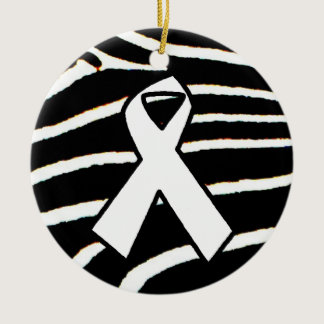 White Ribbon Ceramic Ornament