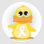 White Ribbon Duck Round Sticker