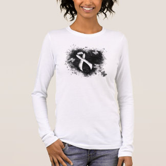 White Ribbon Grunge Heart Long Sleeve T-Shirt