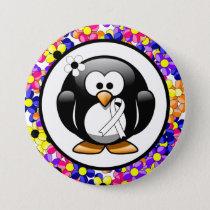White Ribbon Penguin Button