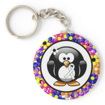White Ribbon Penguin Keychain
