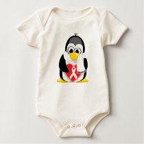 White Ribbon Penguin Scarf Baby Bodysuit