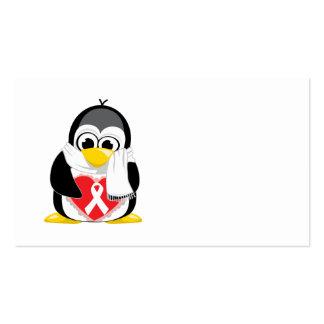 White Ribbon Penguin Scarf Business Card