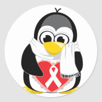 White Ribbon Penguin Scarf Classic Round Sticker
