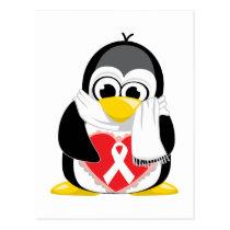 White Ribbon Penguin Scarf Postcard