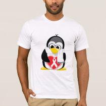 White Ribbon Penguin Scarf T-Shirt