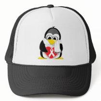 White Ribbon Penguin Scarf Trucker Hat