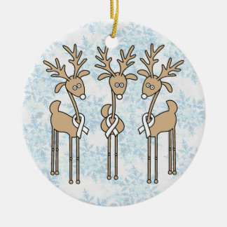 White Ribbon Reindeer Ceramic Ornament