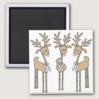 White Ribbon Reindeer Magnet