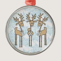 White Ribbon Reindeer Metal Ornament