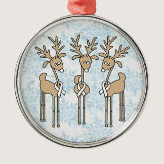 White Ribbon Reindeer Metal Ornament