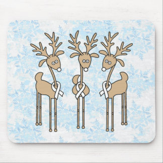 White Ribbon Reindeer Mouse Pad