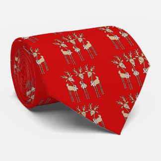 White Ribbon Reindeer Neck Tie