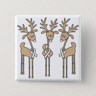 White Ribbon Reindeer Pinback Button