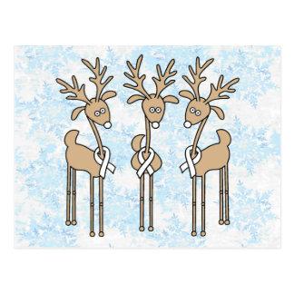 White Ribbon Reindeer Postcard