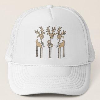 White Ribbon Reindeer Trucker Hat