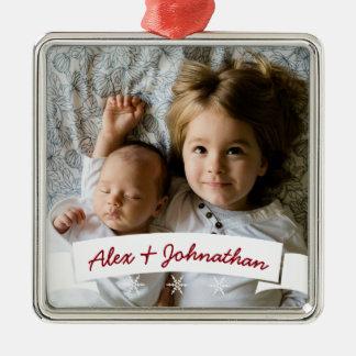 White Ribbon Snowflakes Custom Name Family Photo Metal Ornament
