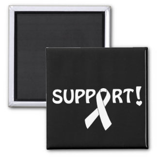 White Ribbon Support! 2 Inch Square Magnet