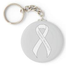 White Ribbon Support Awareness Keychain