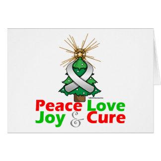 White Ribbon Xmas Peace Love, Joy & Cure Greeting Card