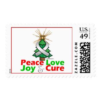 White Ribbon Xmas Peace Love, Joy & Cure Postage