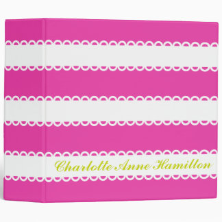 White Ribbons on Diva Pink Personalized 3 Ring Binder