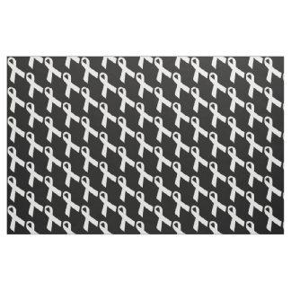 White Ribbons Tiled Pattern Fabric