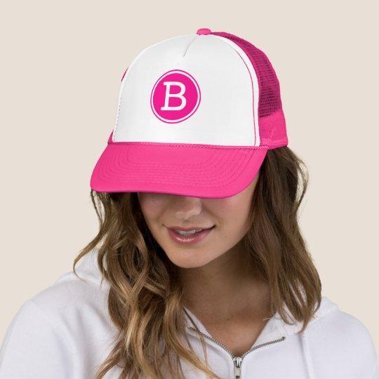 b763bdb9aaf9b White Ring Hot Pink Circle Monogram Trucker Hat