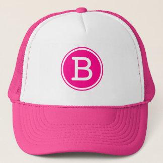 White Ring Hot Pink Circle Monogram Trucker Hat