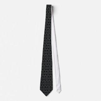White Rings on Black Custom Necktie