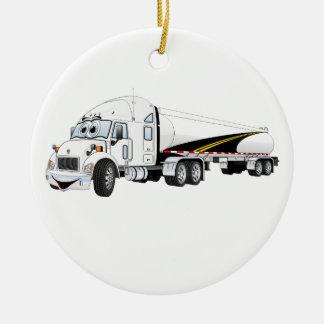 White Roadway Semi Truck Tanker Cartoon Ceramic Ornament